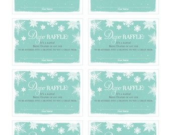 Diaper Raffle tickets for Baby It's Cold Outside Invitation / Winter / Snow / Snowflakes