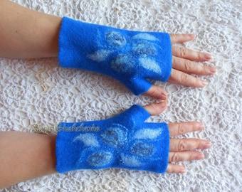 Felted Fingerless Gloves READY TO SHIP Felted Mittens Felt Mittens Wool Mittens Wool Gloves Handmade Felt Mittens Blue Gloves Christmas gift
