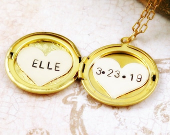 Custom Name Necklace, Mother's Day Gift, Personalized Locket Necklace, Gold Locket, Birthdate Necklace, New Mom Gift