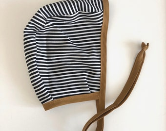 Baby Bonnet | Reversible Bonnet | Toddler Bonnet | Modern Bonnet | Striped Bonnet