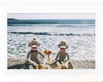 Sock Monkey card Picnic at the Beach