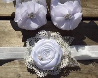 White Baby Rhinestone And Pearl Crib Shoe Set with Stunning Lace and Rhinestone Headband/Christening Shoe Set/Baptism Shoe Set/