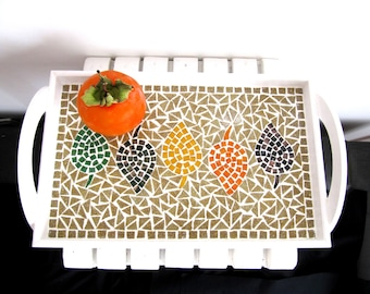 Leaf Tray,Serving Tray, Decorative Tray,Autumn Tray, Mosaic Tray ,Wood Tray,Handmade,Garden Gift,Office Gift,Kitchen Dinning Decor Gift