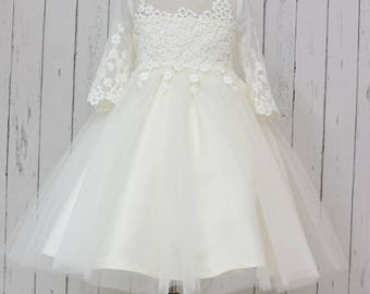 Ivory lace appliques on the top Ivory Lace tulleSleeves Wedding Flower Girl Dress