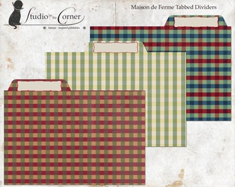 Recipe Card Tabbed Dividers, Printable Tabbed Dividers, French Country Tabbed Dividers, Vintage Tabbed Dividers, Instant Download