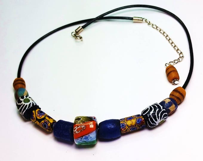 Trade Bead Necklace - Leather Cord Adjustable Necklace - Trade Beads on Leather - Colorful Jewelry - Ethnic Jewelry - Unisex Jewelry