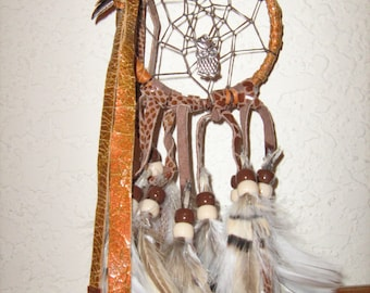 Copper Car Charm Dreamcatcher  Owl's nest  multi colored leathers copper charms owl charm fancy feathers