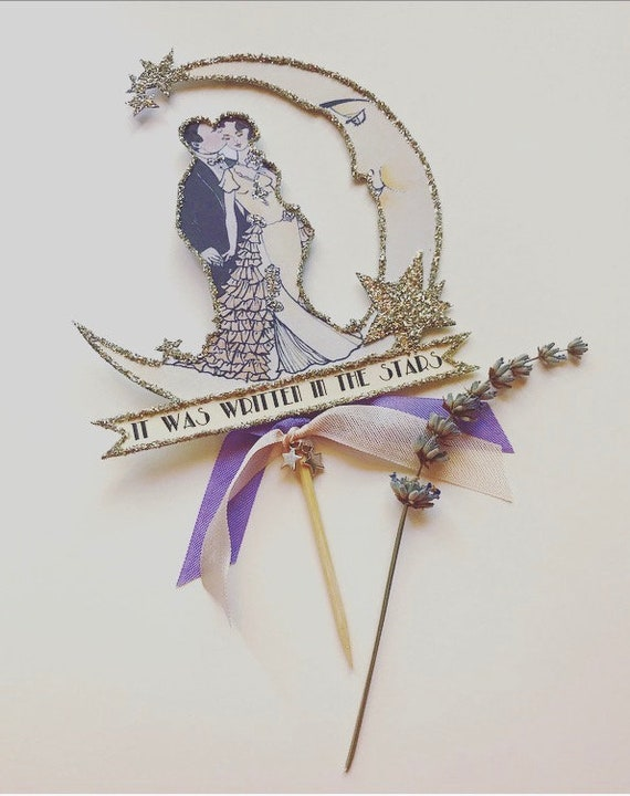 Wedding Cake Topper, Moon, Art Deco, Great Gatsby, Customized, Personalized, Jazz Age, Vintage Inspired, Bride and Groom, Silver