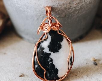 Handmade Necklace - wire wrapped Zebra Stone