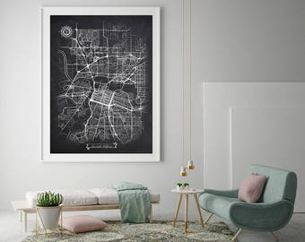 SACRAMENTO California Chalkboard Map Art Black and White Sacramento CA Vintage City Map Graphic Detailed Scheme Street Map Wall Art Decor