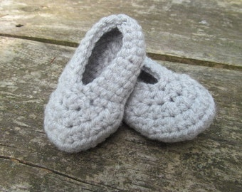 Gray 3-6 Month Slippers