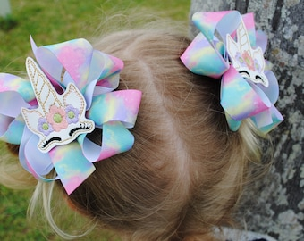 Pastel Rainbow Baby Bow Set for Pigtails Hair Accessories for Girls Magical Unicorn Hair Clips for Toddlers Hair Bows 1st Birthday Party Bow