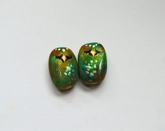 Woodland Whimsical  Sleeping Owl Earring Charms,Owl Beads,Polymer Clay Owls,Critters,Animal Beads,  Owls,Artisan Beads,Artisan Owl beads
