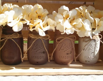 Painted Mason Jars Wedding Vases Rustic Chalkpaint Pint Jar Set of Four