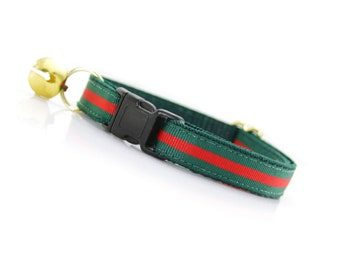 "Cat Collar - ""Crimson & Clover"" - Green and Red Stripe - Breakaway Buckle or Non-Breakaway - Designer / Luxury - Sizes for Cats + Small Dogs"