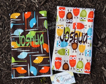 Burp Cloth,Airplanes,Helicopters,Owls,Personalized,Set of 2,Design Your Own,Baby,Girl,Boy