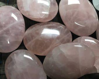 Rose Quartz Palm Stone - 4th Chakra - Heart Chakra - Reiki - Energy Healing - Palmstone