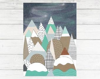A6 'Mountains' Print Postcard