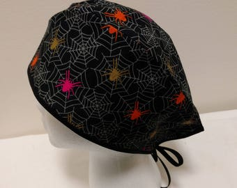 Colorful Spiders with Spider Webs Surgical Scrub Hat