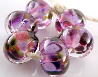 Great Escape Encased SRA Lampwork Handmade Artisan Glass Donut/Round Beads Made to Order Set of 6 10x15mm