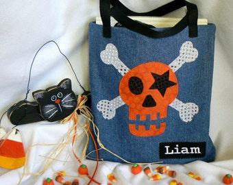 Kids Tote Bag|Personalized Tote|Pirate Trick or Treat Bag|Halloween Skull|Preschool Bag|Toddler Bag|Preschool Bag|Trick or Treat Bag