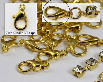 Gold Crystal Rhinestone Cup Chain Clasps For Jewelry Making - 20 Pieces