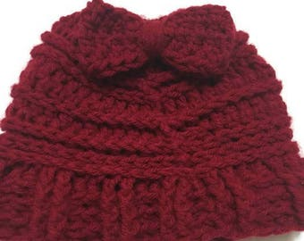 Red Messy Bun Hat, Beanie, Crochet Hat, Messy Bun, Handmade, Sister Gift, New Mom Gift, Womens Messy Bun Hat, Birthday Gift, Bow