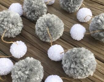 SALE Gray & White Yarn Pom Pom Garland, Pom Poms, Birthday Garland, Photo Backdrop, Party Decor, Nursery Decor