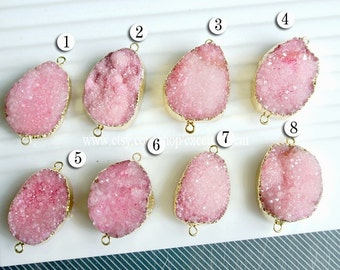 Druzy connector 7% off 24 kt. Gold Plated Druzy Connector in Pink color, Drusy, Druzy Pendant, Druzy necklace -JSL-9070