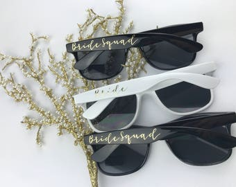 Bride Squad - Beach Sunglasses - Bachelorette Party Sunglasses - Bridesmaid Sunglasses - Black Sunglasses -  Gold Sunglasses - Metallic