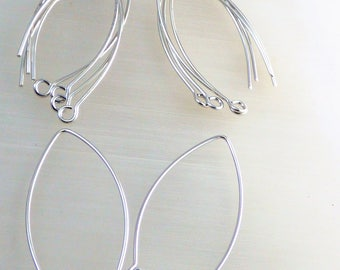 set of 10 large silver plated ear wires