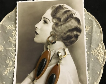 1920 - French Antique Vintage Art Deco long earrings vermeil and galalith black and brown - Miss Fisher - Roaring 20s - Flapper