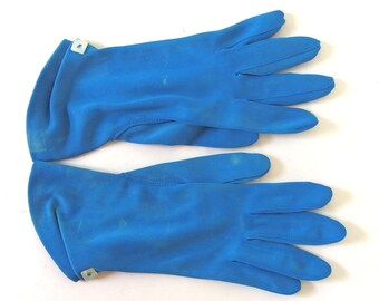 Vintage Blue Nylon Dress Gloves, Size 5 1/2 - 6