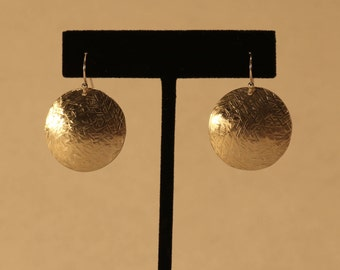 Cross-Hatched Textured Disk Earrings