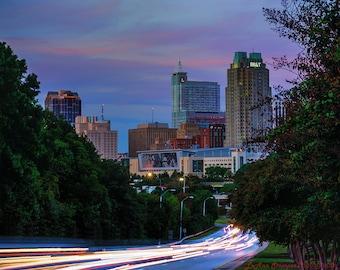 Raleigh,Downtown Raleigh,North Carolina,Capitol,Car Trails,Skyline,Blue Hour,Wall Art,Home Decor,Canvas Print Option