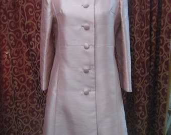 """1960's, 36""""bust, highly polished pink  silk coat"""
