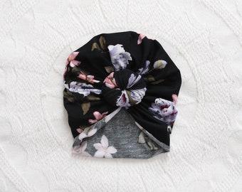 Black Floral Top Knot Turban   Baby Turban   Baby Top Knot Turban   Newborn Hat  Baby Girl Hat   Hospital Hat   Head scarf   Head wrap