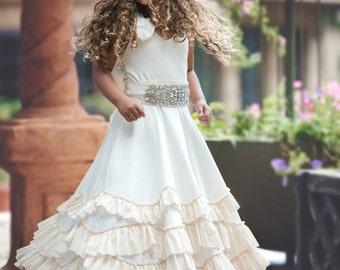 Flower Girl dresses, boho flower girl dress, rustic flower girl dress, Beach Flower girl dress Ivory champagne, flower girl dress country