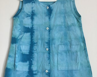 Hand Dyed 100% Cotton Blue & Green Button Down Sleeveless Toddler Dress with Pockets Free Shipping