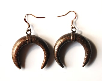 These Crescent Moon Black patinated copper earrings; ethnic jewelry