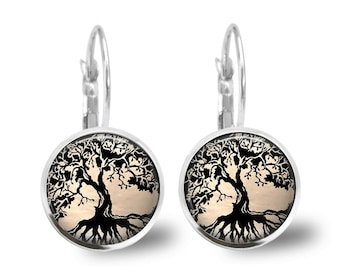 Tile Earrings Tree Earrings Beaded Earrings Tree Jewelry Tree of LIfe Tile Jewelry Beaded Jewelry Black Jewelry Silver Jewelry