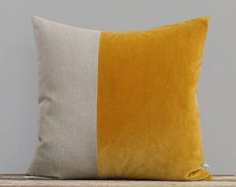 Velvet Colorblock Pillow Cover in Golden Mustard and Natural Linen by JillianReneDecor, Modern Home Decor, Two Tone Color Block Pillow