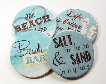Drink Coasters, Coasters, Beach House Decor, Hostess Gift, Tableware, Cottage Chic, Beach Coasters, Beach Babe, Salt and Sand, Blue (5099)