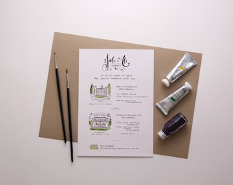 Illustrated Wedding Programme - watercolour illustration, bespoke stationery, wedding illustration, calligraphy