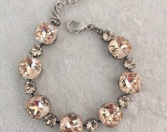 Swarovski crystal bracelet cushion cut 12mm and 6mm crystal stones- light silk- champagne tennis bracelet