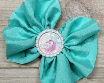 "5"" Chiffon Messy Hair Bow With Unicorn Bottle Cap"