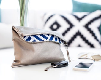 the mallory : zippered leather foldover clutch, champagne leather exterior, striped interior, bridesmaid gift