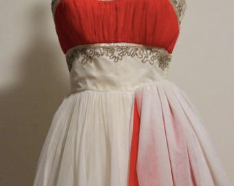 Vintage 1950s Strapless Tea Length Chiffon Gown with Beading and Sequins