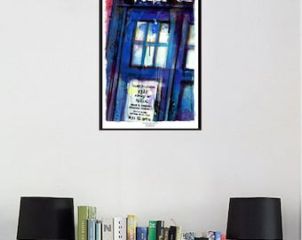 "Doctor Who TARDIS 13x19"" Art Print, Archival Quality Abstract Art"