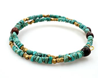 Turquoise and gold bracelet, Memory wire bracelet, Heishi turquoise and wood, Wood and Turquoise bracelet, Turquoise memory wire bracelet